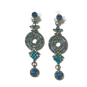 Jewelry - Sparkly blue rhinestone dangly earrings